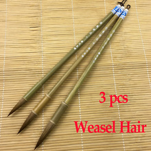 3pcs Chinese Calligraphy Brushes Weasel hair brush pen for painting drawing calligraphy Art supplies