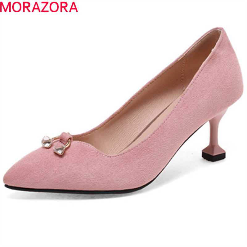 цены MORAZORA 2018 plus size 33-44 pointed toe pumps women shoes shallow elegant party wedding shoes crystal thin high heels shoes