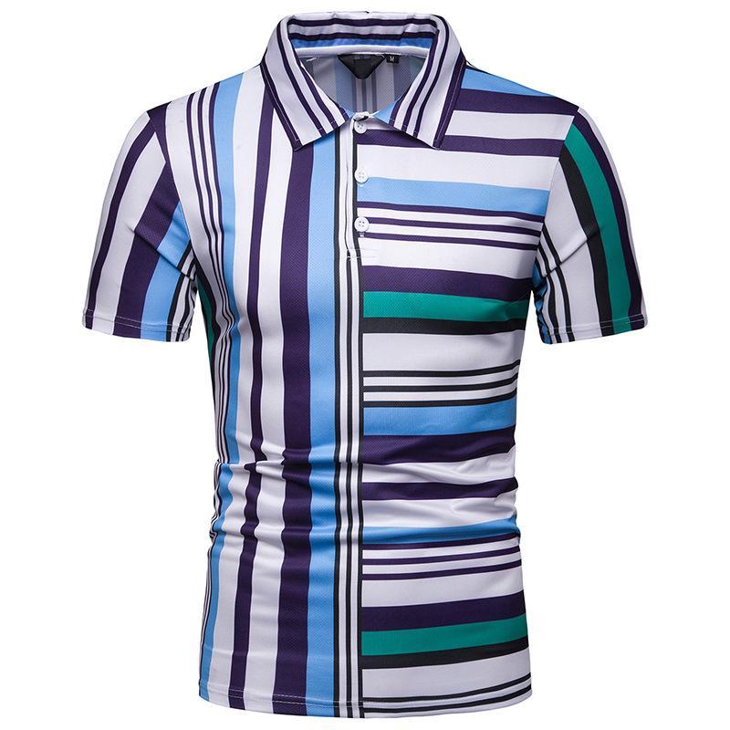 Striped   Polo   Lapel Shirt Men's Clothing Short sleeves Blusas Summer Tops Casual Men   Polo   Shirt Tees Hawaiian beach