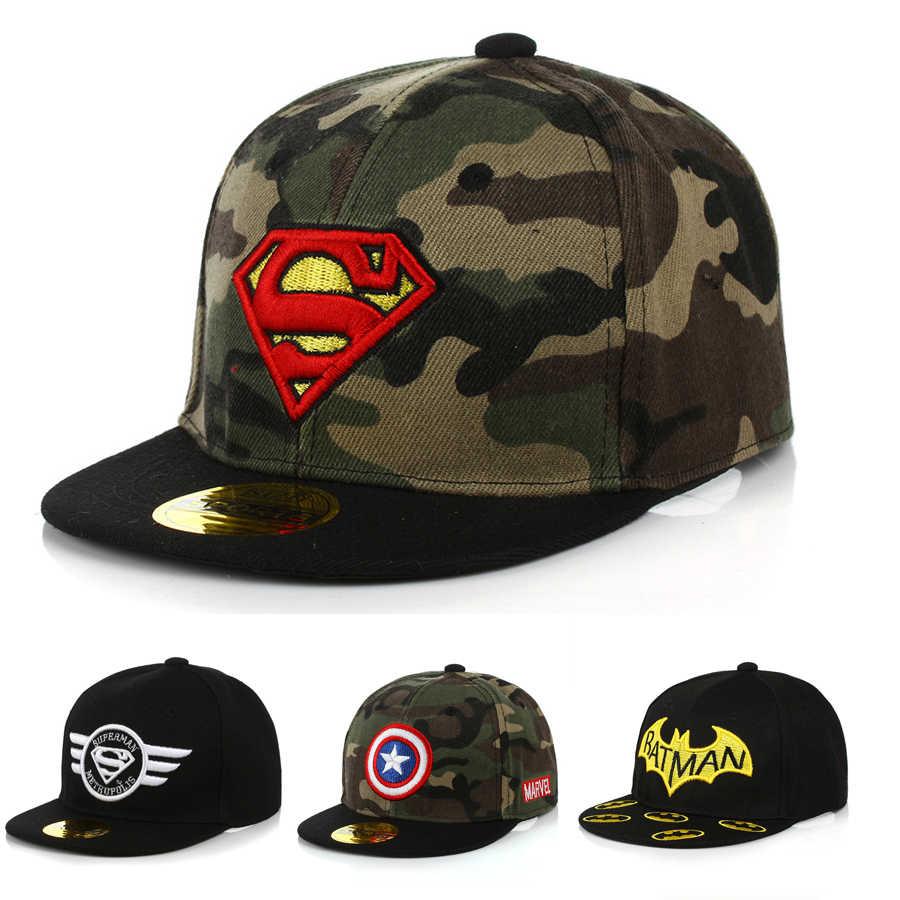 Новинка; камуфляжная кепка для мальчиков и девочек; детская шапочка с козырьком Бэтмена; шапки в стиле хип-хоп; детский тент; бейсболка; Snapback DS19