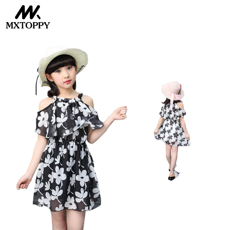 Summer Girl Dresses 2018 New Kids Flower Princess Chiffon Dresses For Girls Children Clothing