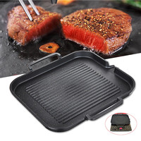 Kitchen Non Stick Cooking Grill Pan Griddle Steak Frying Pan Aluminum Alloy BBQ Grill Pan Camping Picnic Cookware Cooking Tools