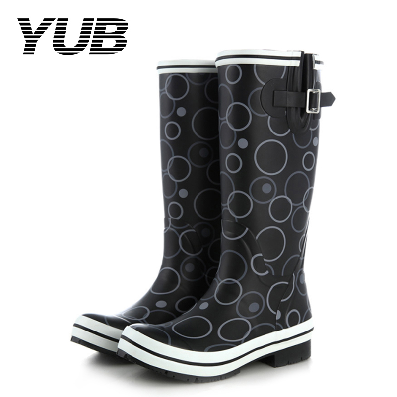 YUB Brand PVC Womens Autumn Rain Boots with Fashion Mid Calf Non-slip Waterproof Band Circle Flat Glue Shoes yub brand waterproof rain boots for women with solid color slip on winter mid calf shoes for girls
