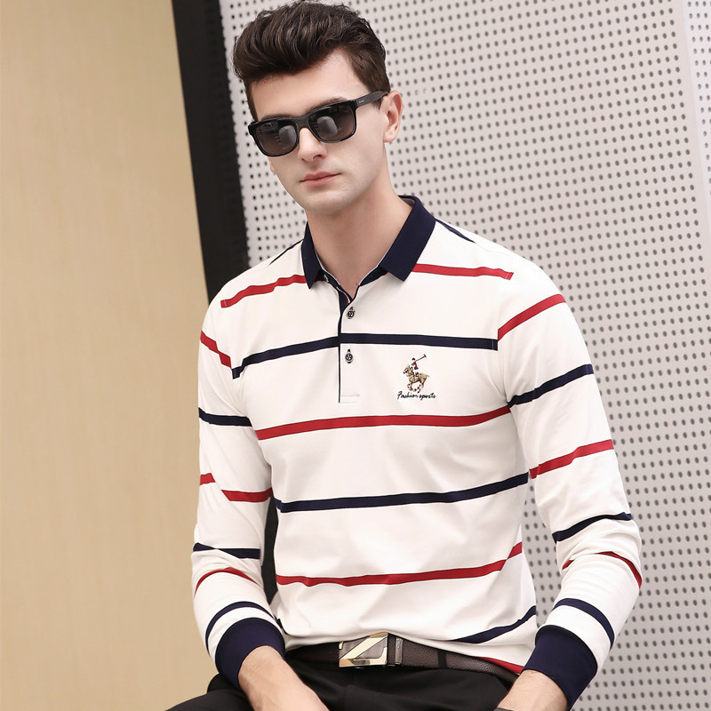 Autumn spring new long sleeve cotton polo shirt men striped business casual brand clothing homme camisa plus size XXXL 6693