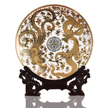 New Design Art Ceramic Ornamental Plate Golden Dragons Pheonix Plate Decoration Plate Wood Base Porcelain Plate Set Wedding Gift