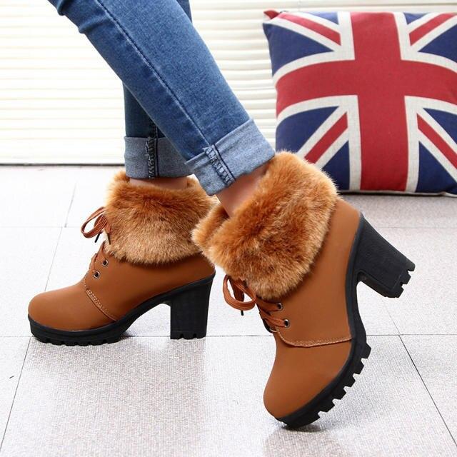 Tacón Mujeres Negro Partido Tacones marrón Alto Altos De Piel Cristalino Plataforma Zapatos Caliente Elegante Felpa Las Ghn89 Señora SOIqH