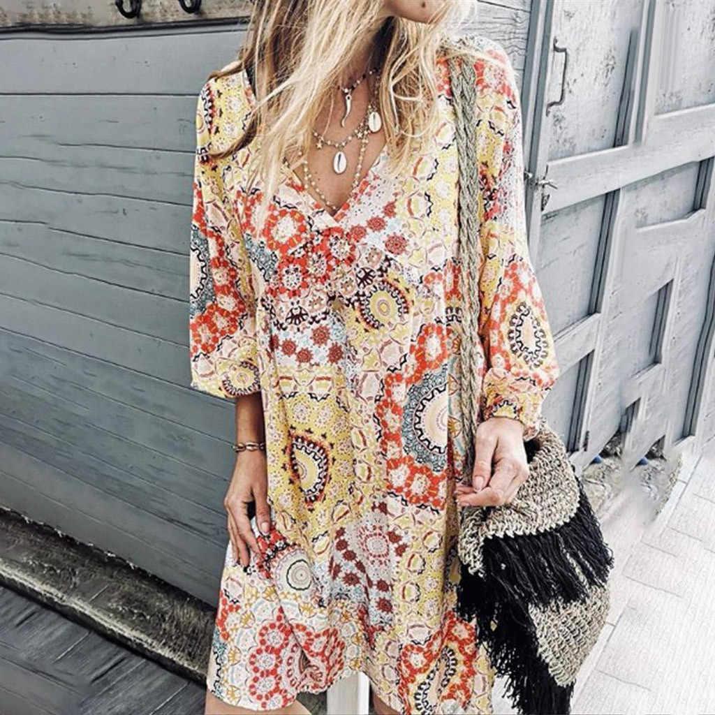 Plus Size Moda Camisa Impressão Boho Vestido Sexy Com Decote Em V Soltas Vestido Balanço Vestido de Verão Mulheres Praia Casual Vestido de Festa Vestido de fest