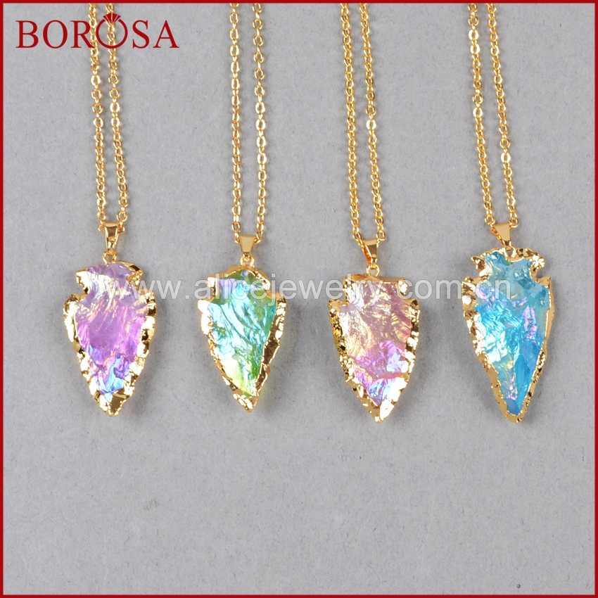 BOROSA ขายส่งทองสี Arrowhead Rainbow TITANIUM ควอตซ์จี้ลูกปัด,Drusy ควอตซ์จี้สำหรับสร้อยคอ G0525