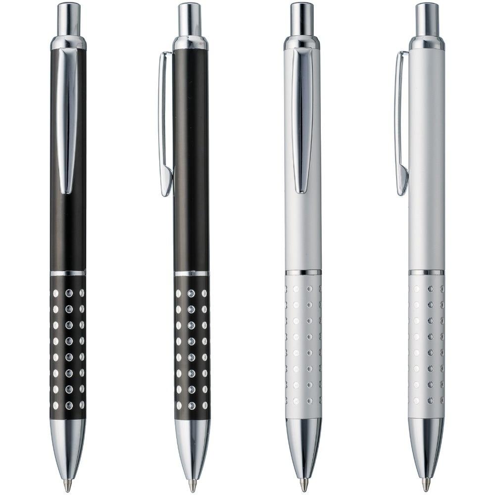 Lot 50pcs Metal Black Shiny Dot Decorate Barrel Ball Pen,Smooth Writing Ink