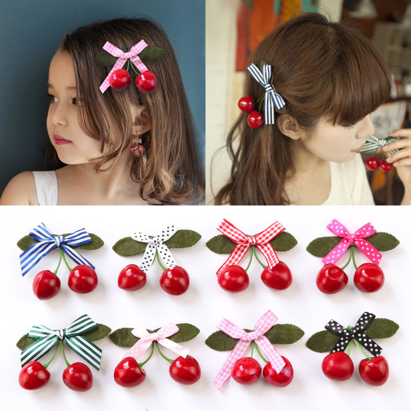 New Fashion Dot Plaid Striped Box Cherry Hairpins Girls Cute   Headwear   Hair Ornament Barrettes Lovely Headbands Hair Accessories