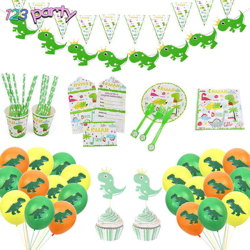 Dinosaur Disposable Tableware Birthday Party Decoration Kids Party Baby Shower Plate Paper Cup Tablecloth Balloon Party Supplies