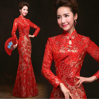 Red Cheongsam Dress Bride Wedding Qipao Traditional Chinese Clothing Oriental Dresses Robe Evening Party Dress