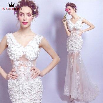 Sexy Evening Dresses Mermaid V-neck Flowers Beaded Beige Color Long Party Prom Dress Evening Gowns 2020 Vestido De Festa NT47