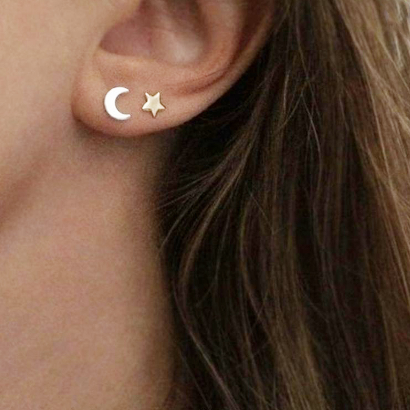 Fine Lovely Silver Stainless Steel Animal Heart Star Moon Stud Earrings for Women Korean Minimalist Earrings Jewelry Accessories