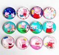30pcs Round pink pig Hello Kitty Glass Cabochon 20mm Flatback for Necklace Pendant/Hair Bow DIY accessory