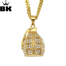 Hip Hop Titanium Stainless Steel Sports Hand Grenades Bombs Pendant Necklaces for Men Jewelry Christmas Gift(China)