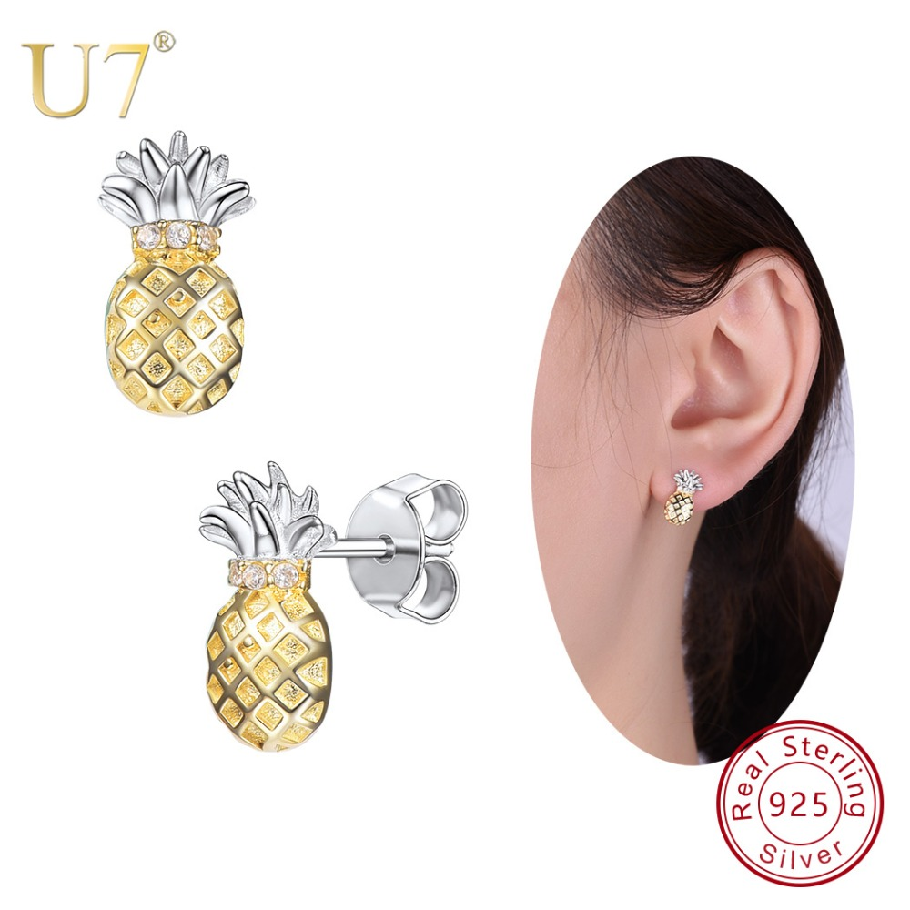 U7 925 Sterling Silver 3D Pineapple Earrings Tropical Fruit Stud Earring Cute Sweet Women Lovely Jewelry Best Friend Gift SC142 hempz sweet pineapple