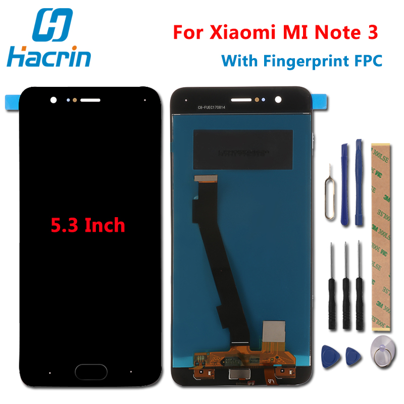 Xiaomi Mi Note 3 LCD Display+Touch Screen With Fingerprint FPC Test Good Digitizer Screen Glass Panel For Xiaomi Mi Note 3 5.5''