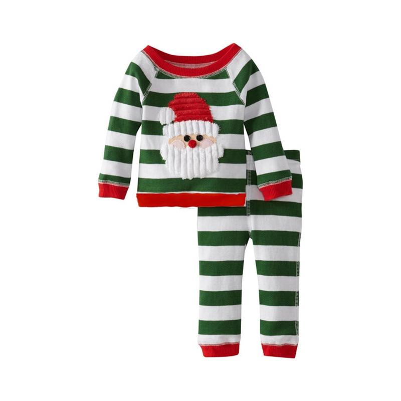 Baby Boys Girls Christmas Santa Costume Lounge Sets Striped Cotton Set Has Top Dimensional Santa Applique Kids Clothes V30