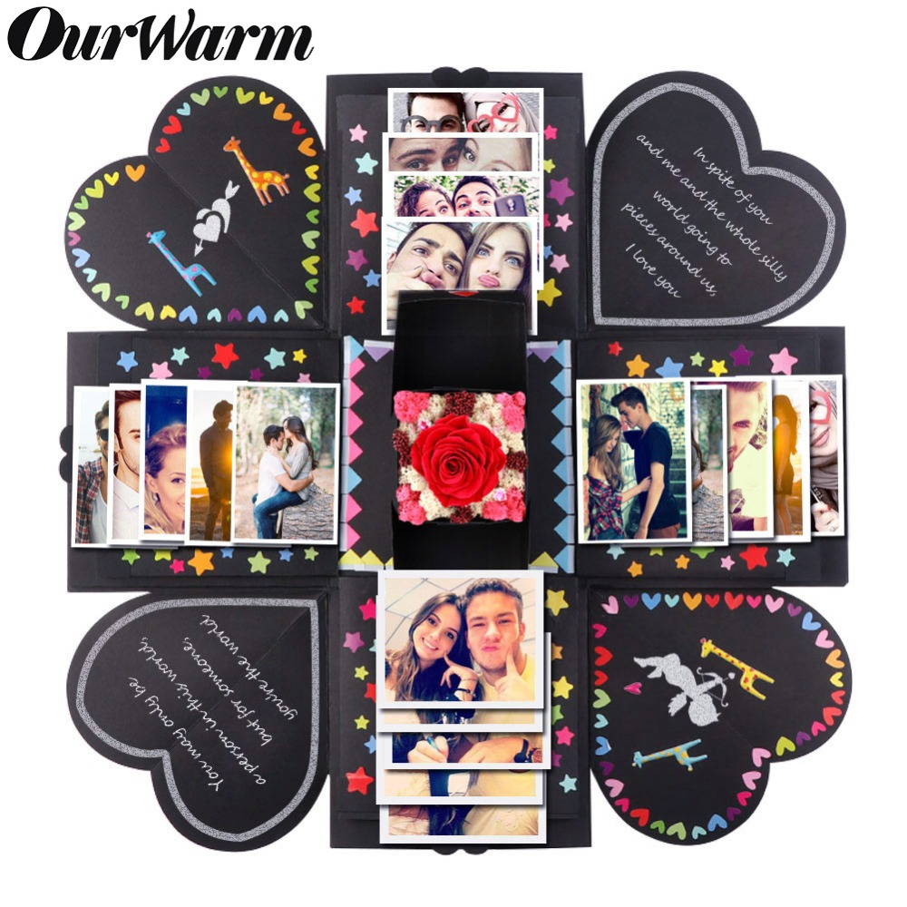OurWarm Valentine's Day DIY Surprise Love Explosion Box Gift Explosion Propose Props Photo Album Scrapbook Anniversary Gifts(China)