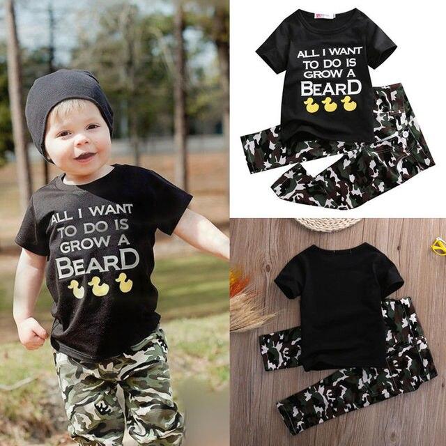 8d726ec09 2pcs Children Baby Infant Clothes Army Green 2pcs Boys Girls Outfits T-shirt  Tops + Pants Black Cute Cartoon Letter Kids Clothes