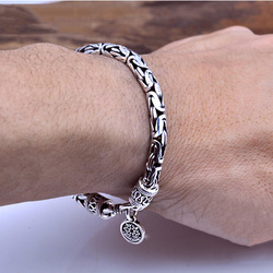 100% Real 925 Sterling Silver Men Bracelet Thick Safe Pattern Vintage Punk Rock Style Bangle Men Fine Jewelry Father's Day Gift