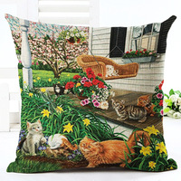 Cartoon Cat Pattern Cushion Covers Pillow Cover Decoration For Home Sofa Printed Cat Meeting Linen Cotton