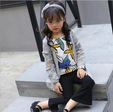 Single Breasted Cardigan O-Neck Knitted Sweater Fashion Hollow Out Coat Girls Clothes Solid knitting Pocket Design For kids S123