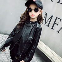 2017 New Teen Girls Faux Leather Jacket Children S PU Clothing Top For 6 12Y Kids
