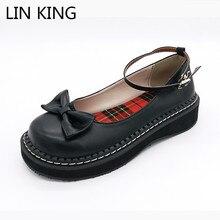 Lin king/Демисезонный Для женщин туфли-лодочки в стиле Мэри Джейн Повседневное клинья Лолита Обувь сплошной круглый носок с пряжкой в стиле ретро тонкие туфли Косплэй Обувь