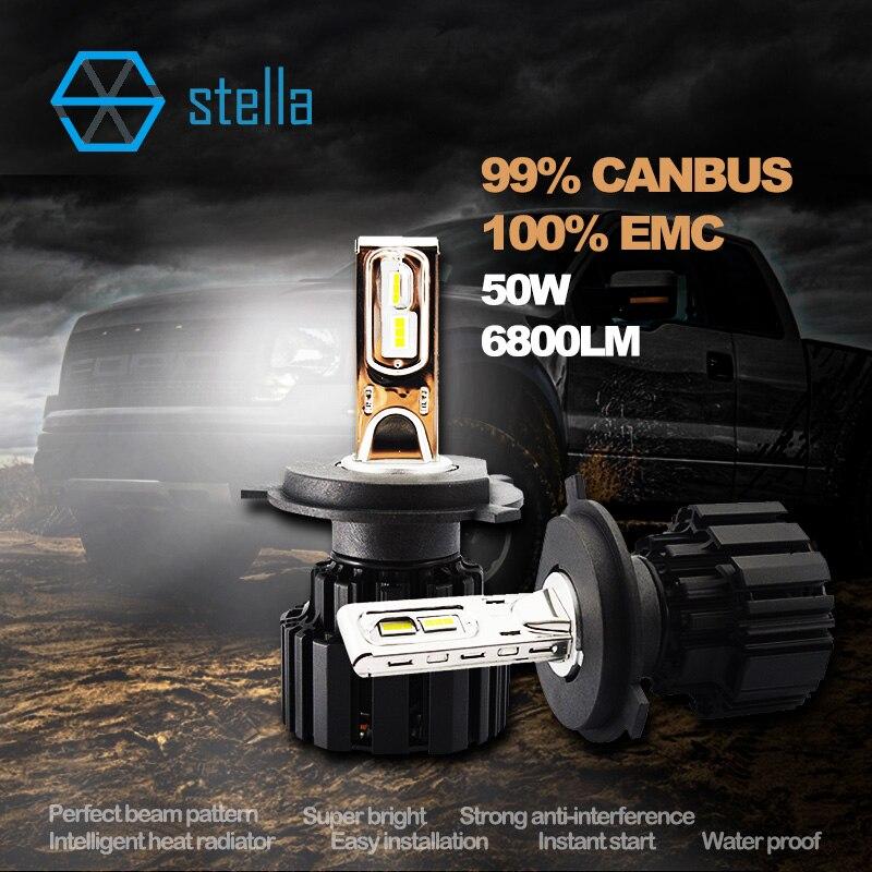 Автомобильные светодиодные фары/противотуманных фар ламп H4/9003/сайт hb2 головная Лампа 50Вт 6000К 6800lm Сид 99% canbus ошибка бесплатный супер яркий пожизненная гарантия