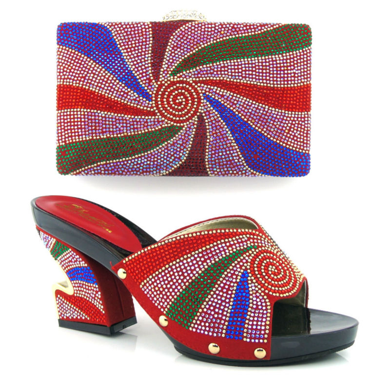 ФОТО Item No.HT13-RED color wedding shoes,Italian shoes and bags set to match free shipping