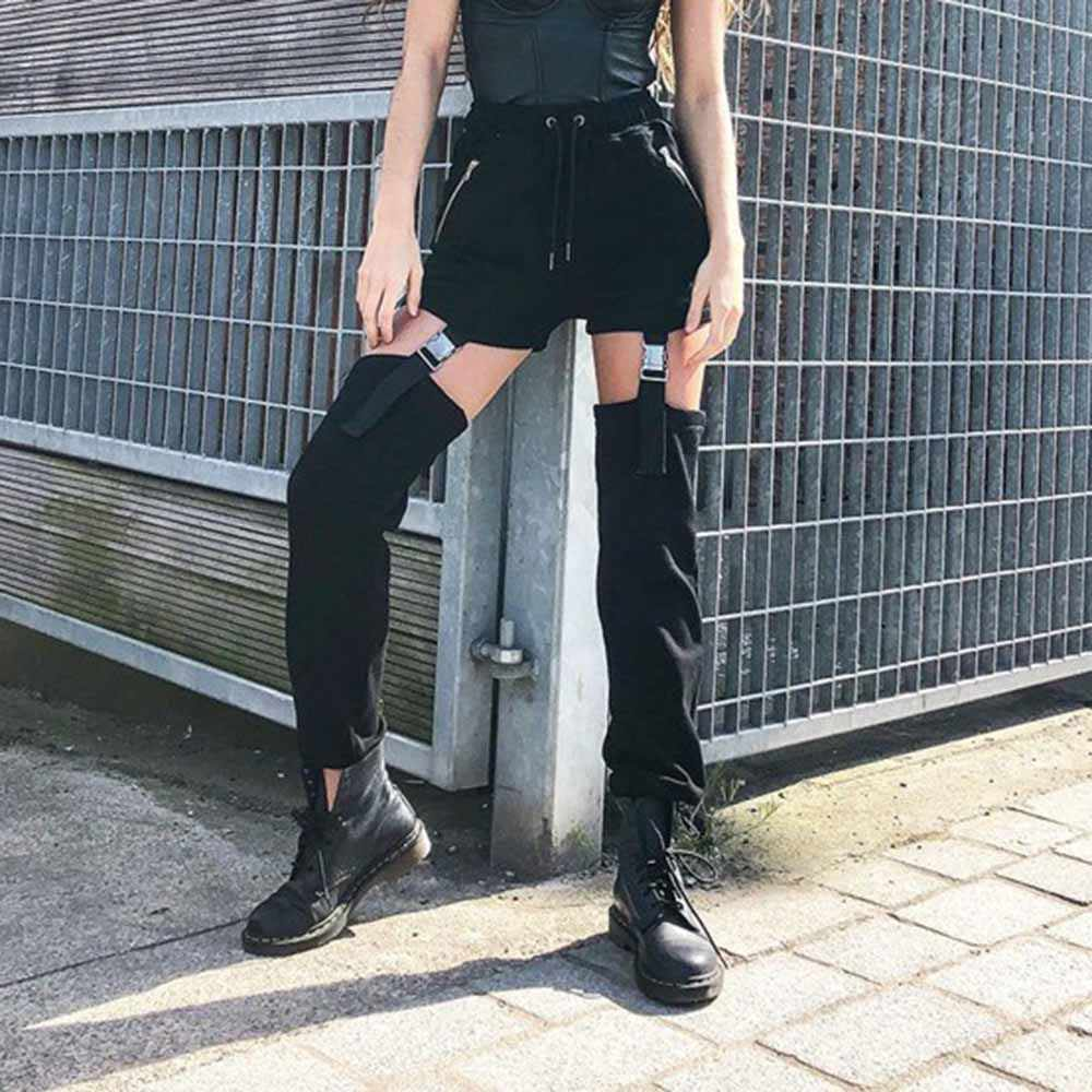 Hot Sale Trendy Black Casual Pants Women Autumn 2019 Streetwear Kpop Fashion Long Trousers Punk Style Fitness Joggers Sweatpants