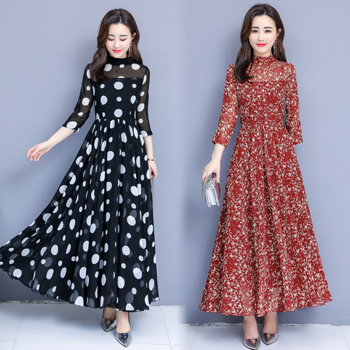 Noir Vintage Élégant De Noir longueur Haute Blanc Robes Mousseline A Soie Cheville Femmes Imprimer Et Femme En Taille Printemps Vêtements rouge 2019 Robe ligne T5ExwPqwB
