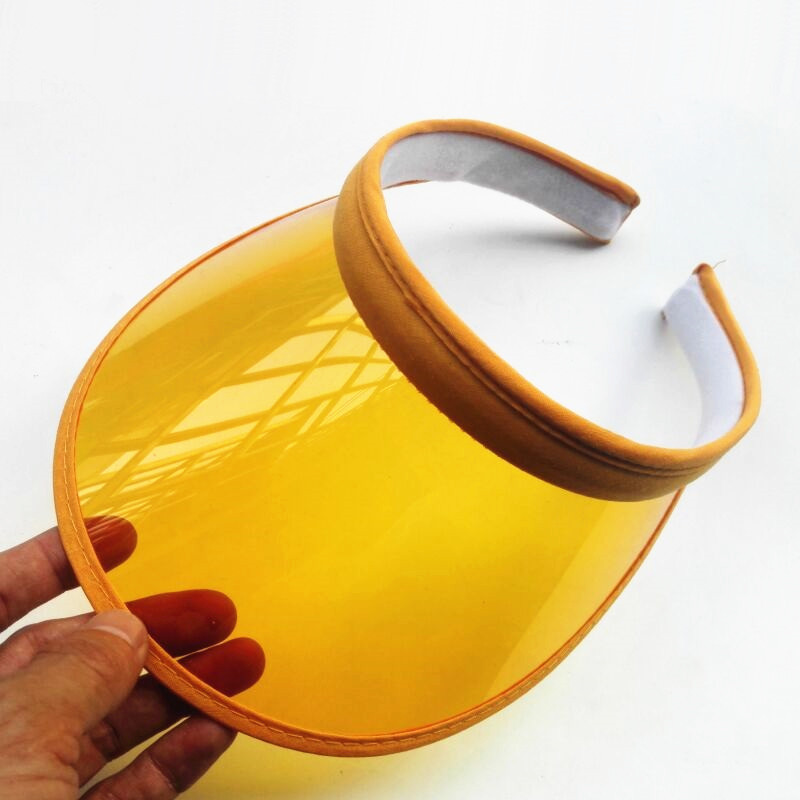 Women PVC Plastic Visor Caps Sun Hats Casquette Gorras Girls Casual Topless Waterproof UV Protection Cycling Hats
