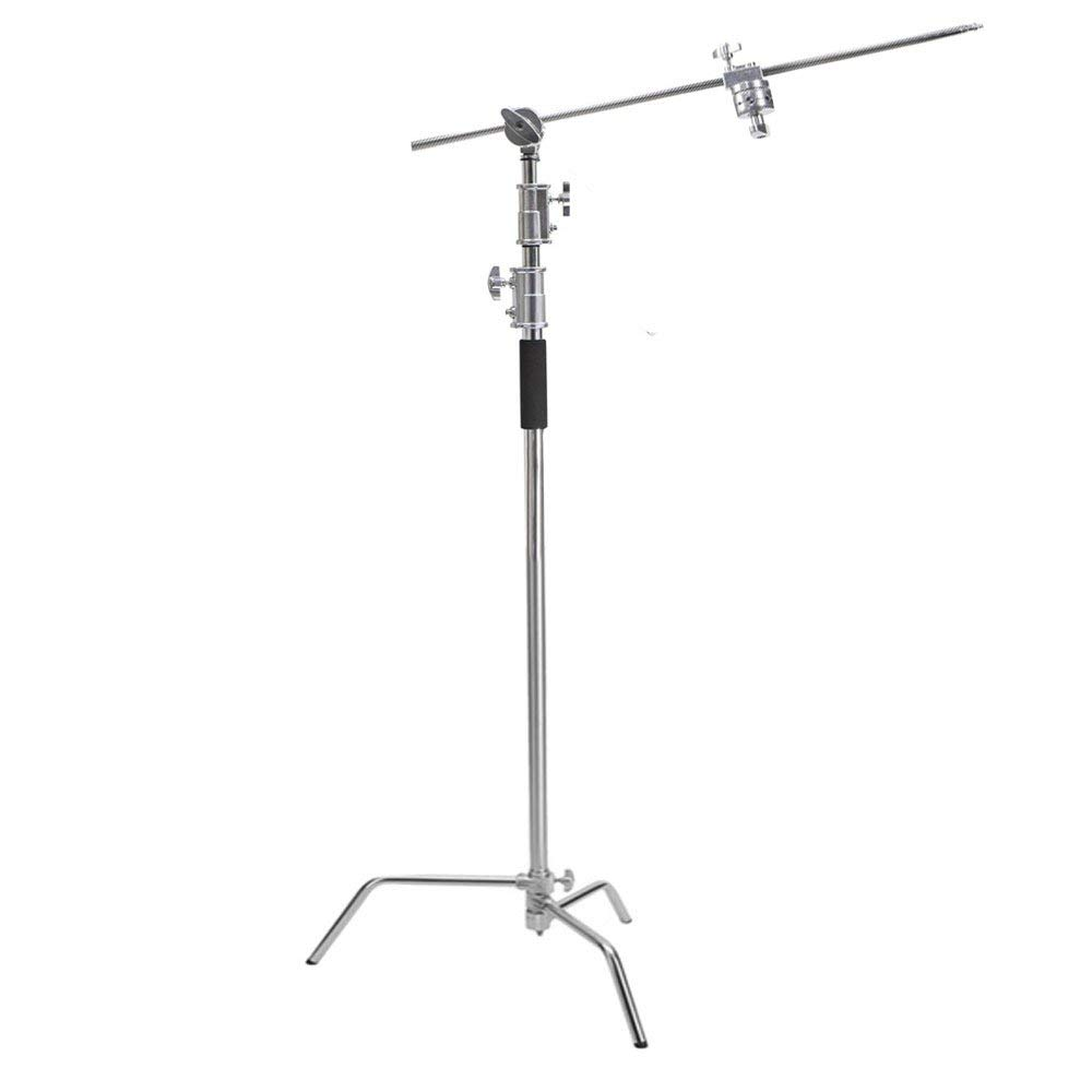 Stainless Steel Multi function Photography Studio Heavy Lighting Century C Stand with Folding Legs Grip Head