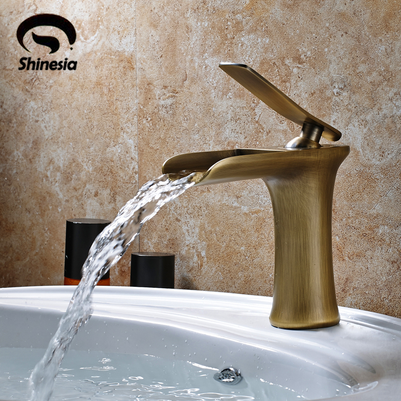 Solid Brass Single Handle Waterfall Spout Bathromm Sink Faucet Countertop Basin Mixer Tap Antique Brass solid brass single handle waterfall spout bathromm sink faucet countertop basin mixer tap antique brass