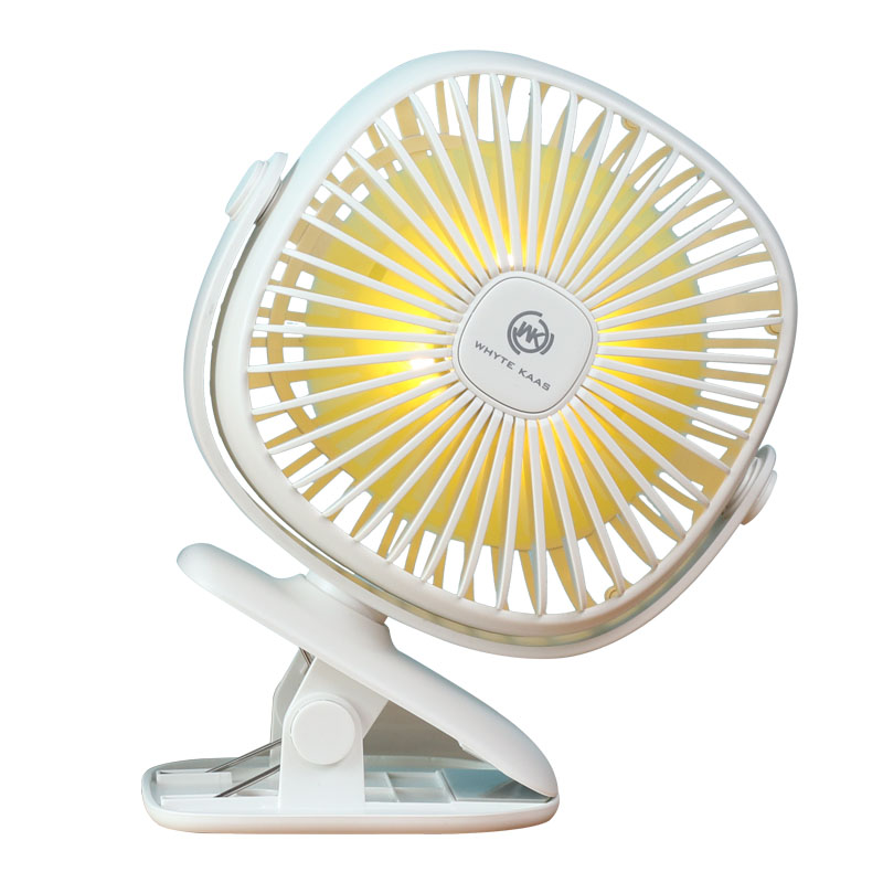 Baby Trolley Clipped USB Mini 360 Degree Rotary Air Cooling Fan Bedside Bedroom Rechargeable Quiet Electric Fan with Night Light