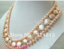Fashion 3 Strands Pink Freshwater Pearl & Coin Pearl Necklace