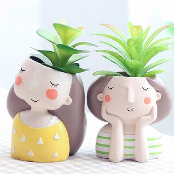 Chłopcy i wzór dla dziewczyn kwiatowa domowa doniczka do dekoracji wnętrz doniczka doniczka doniczka doniczka doniczka do bonsai tanie i dobre opinie CN (pochodzenie) Nowoczesne Żywica Blat wazon cute vase