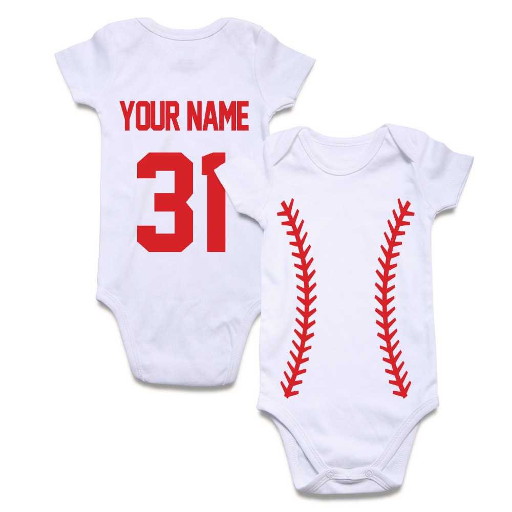Football Custom Personalized Newborn Baby Boy Girl Bodysuit White Black Short Sleeve Baby Clothes Rugby Design Name and Number