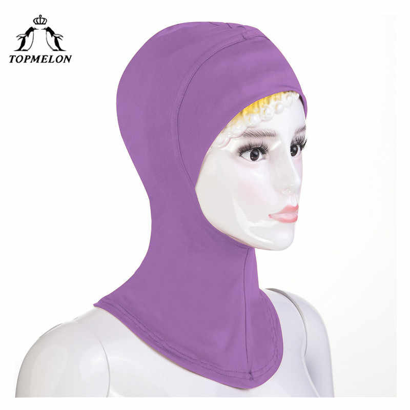 TOPMELON Turbon נשים חיג 'אב מוסלמי בגדי חדש ראש צעיף מוצק מודאלי Hijabs מיידי כובעי חיג' אב מטפחת סגול חאקי אפור