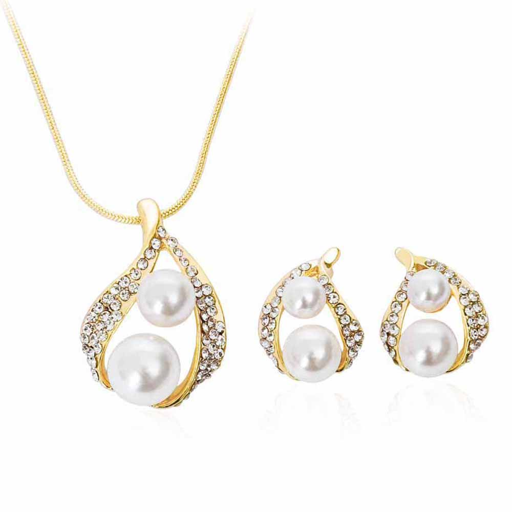Tomtosh Luxury Cubic Zirconia Jewelry Set For Woman Necklace Set Double  Simulated Pearl Earrings Wedding Beads Jewelry Dubai Gif