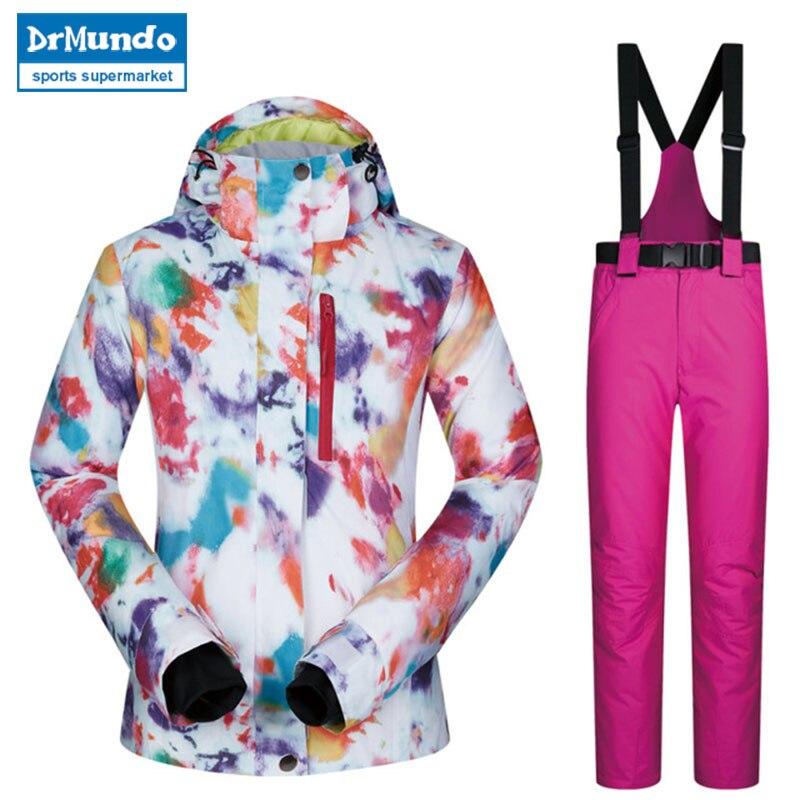 2018 haute qualité Ski costume femmes coupe-vent imperméable respirant chaud Snowboard vestes et pantalons MHSJ hiver Ski veste femmes - 6