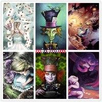 Alice In Wonderland DIY Cross Stitch Mr White Rabbit Cheshire Cat 5D Diamond Painting