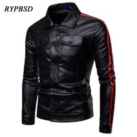 New Autumn Fashion Red Black Leather Jacket Men Single breasted Handsome Street Striped Slim Fit jaqueta de couro masculina Coat