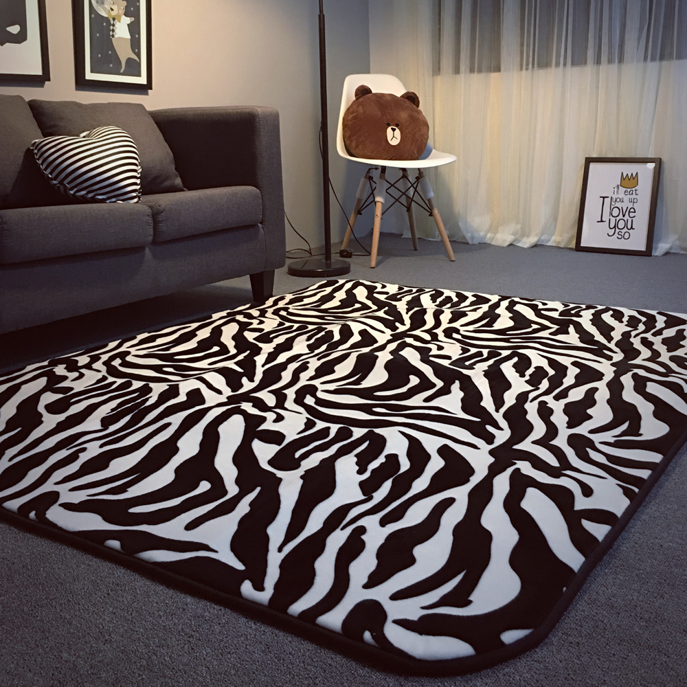 Zebras Listradas Em Preto E Branco Tapete Sala Quarto Piso Mat  -> Tapetes Para Sala Loja Seller