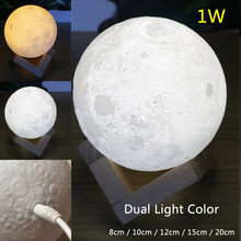 Creative 3D LED Dual Light Color Moonlight Lunar Touch Desk Table Nightlight Lamp Moon Night Light Indoor Bedroom Decoration(China)