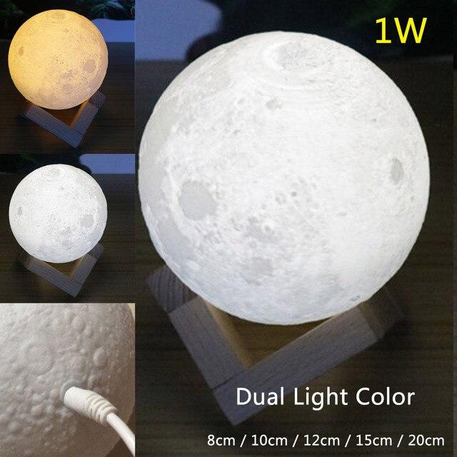 Creative Led Dual Light Color Moonlight Lunar Touch Desk Table Nightlight Lamp Moon Night