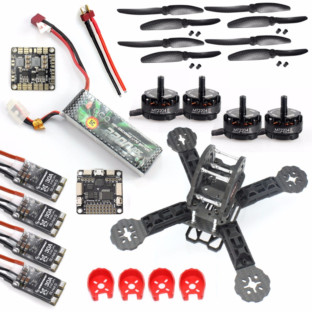 DIY RC FPV Drone Mini Racer Quadcopter Frame  Kit 190mm F3 Deluxe Flight Controller 2200mah Battery with 30A ESC Brushless Motor rc plane 210 mm carbon fiber mini quadcopter frame f3 flight controller 2206 1900kv motor 4050 prop rc